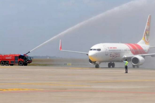 Water salute for the first flight at Kannur Airport