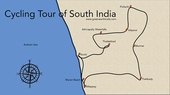 Cycling tour of South India Map