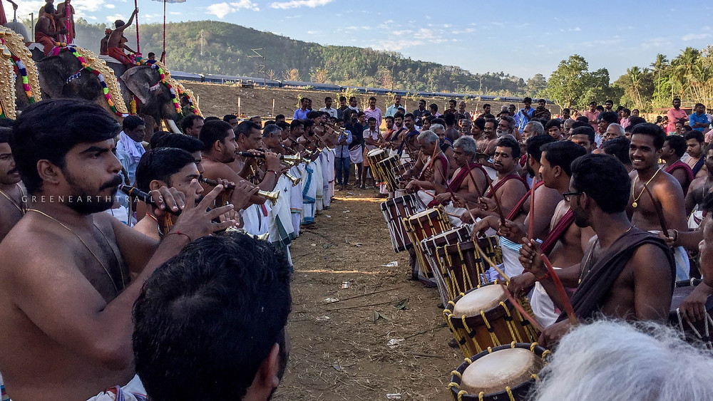 The great percussion orchestra at Uthralikkavu Pooram