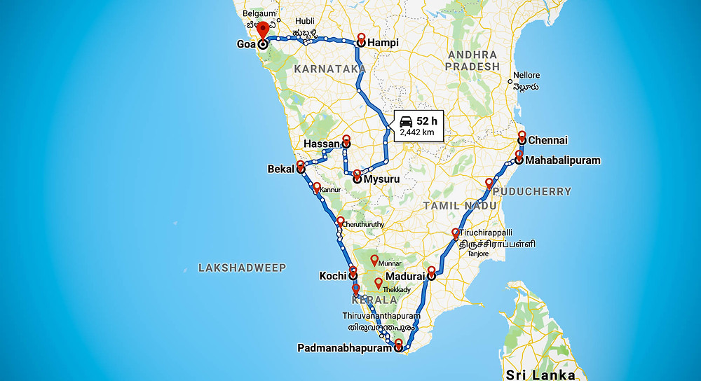 Top monument map of South India