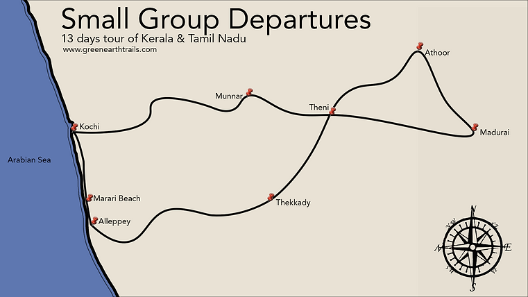 Kerala Small grop departures itinerry map