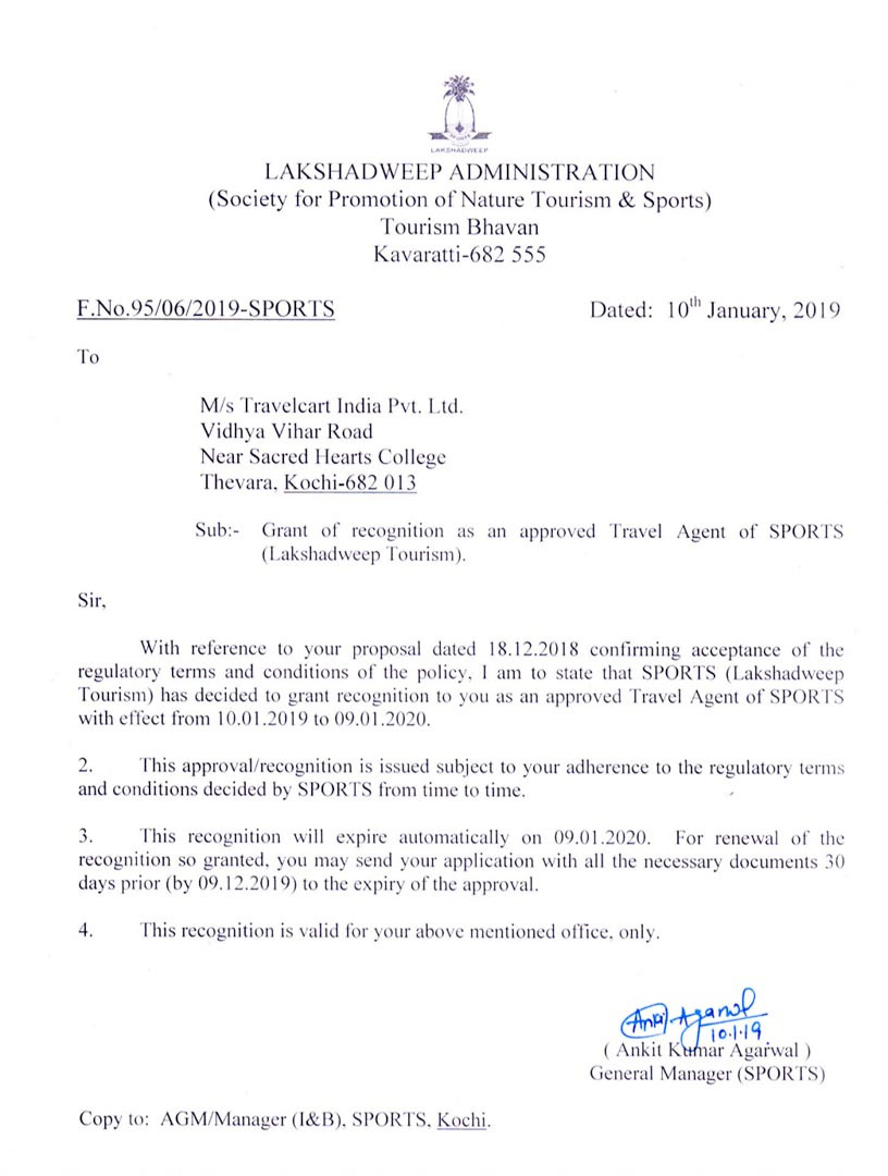 Letter of approval - Approved tour operator to Lakshadweep Islands