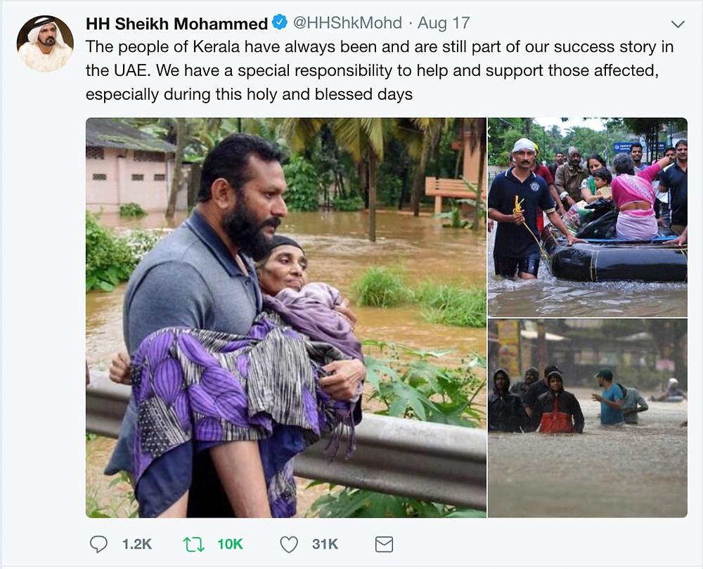 twitter message from His Highness Sheikh Mohammed bin Rashid Al Maktoum