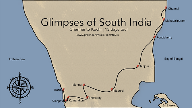 South India Itinerary map