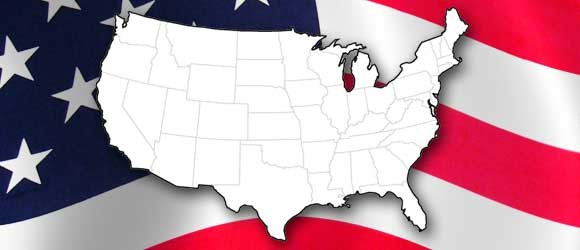 Map of US with US flag background