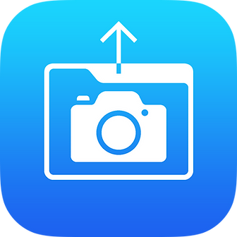 The pixOrga iOS App logo is a deep sky blue with an outline of a file folder that contains a camera inside of it and an arrow extending from the top that is point up signifying the organizing and sharing of photos taken.
