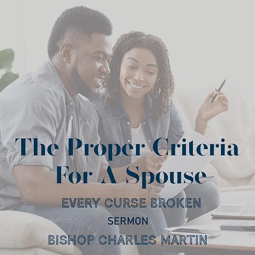 The Proper Criteria For A Spouse