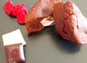 Moelleux au chocolat noir - framboises