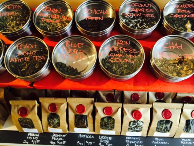 Try our Tea Aroma Buffet to see and smell the loose leaf teas we offer.