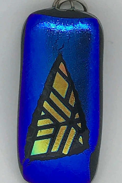 Blue with goldey amber triangle