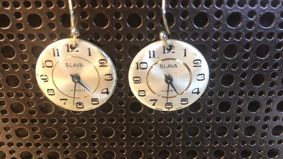 Monique Weston Vintage Clock Face Earrings (Ivory & Gold)