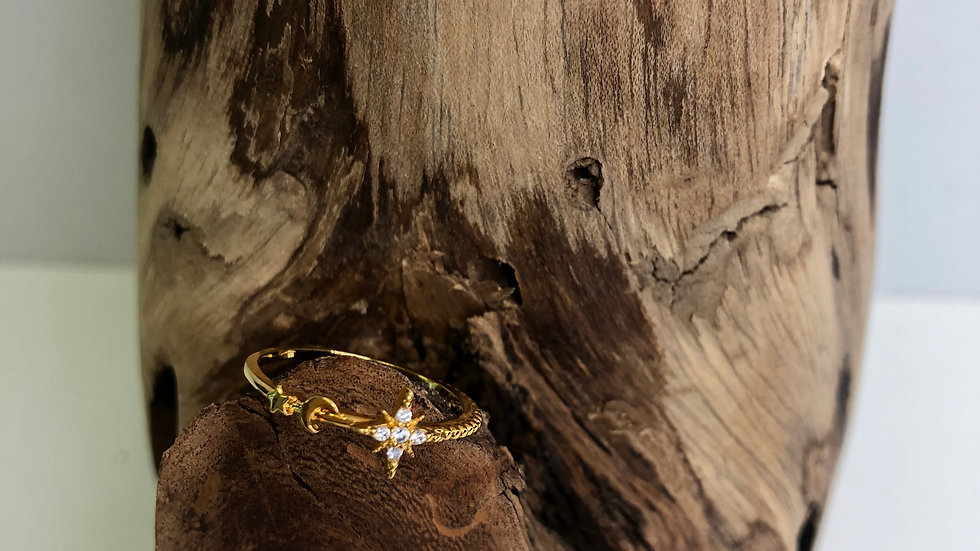 Girls Crew Moon and Star Stacker Ring (gold)
