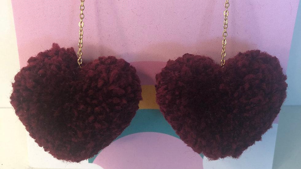 Fruity Poms Heart Pom Earrings