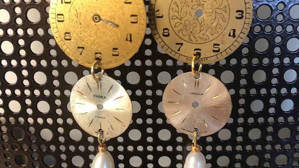 Monique Weston 2 Tiered Vintage Clock Face Earrings (w/Pearls)