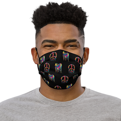 Peace And Love (Blk) - Premium face mask