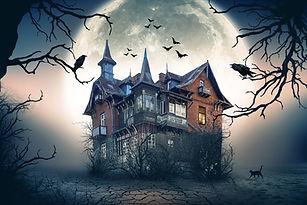 Haunted House with Dark Horror Atmosphere. Haunted Scene House..jpg