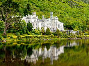 Kylemore Abbey with water reflections in