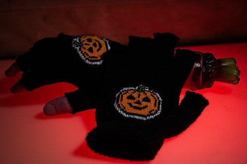 Cross Stitch Pumpkin Fingerless Gloves