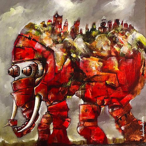 Rock around elephant