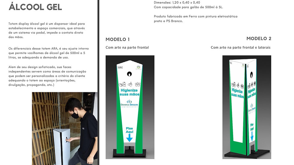 Totem Display para Álcool Gel - MODELO 01