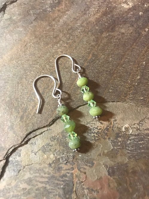 Jade, Swarovski, & Sterling Silver Earrings