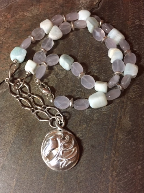 Horse Mane Gemstone and Chain Necklace