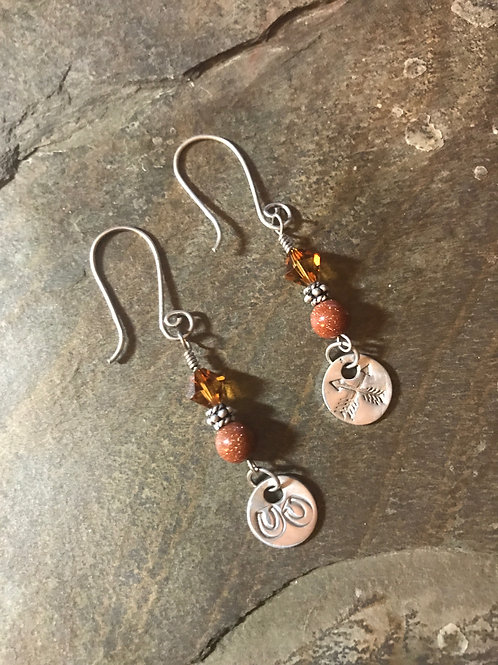 Swarovski & Goldstone Earrings with Fine Silver Charms