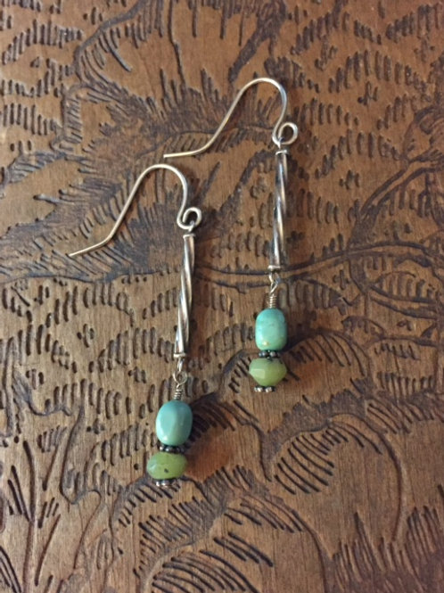 Turquoise, Jade, & Sterling Silver Earrings