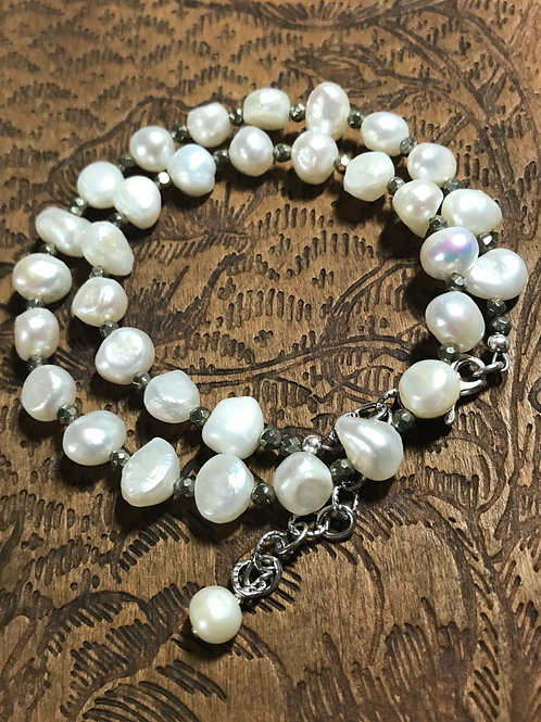 Pearls & Pyrite Double-Wrap Bracelet
