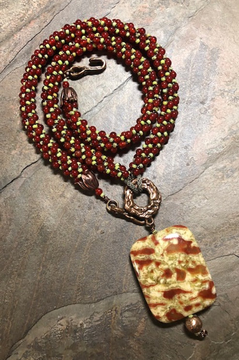 Carnelian, Serpentine, & Bronze Kumihimo Necklace