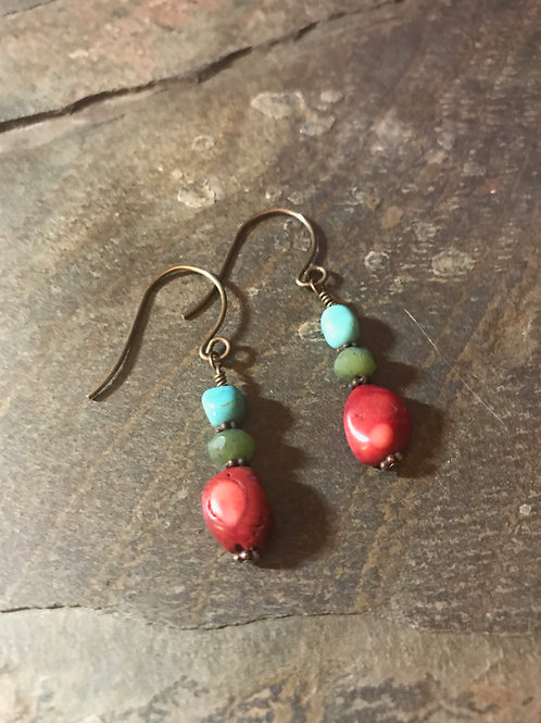 Turquoise, Jade, Coral & Brass Earrings