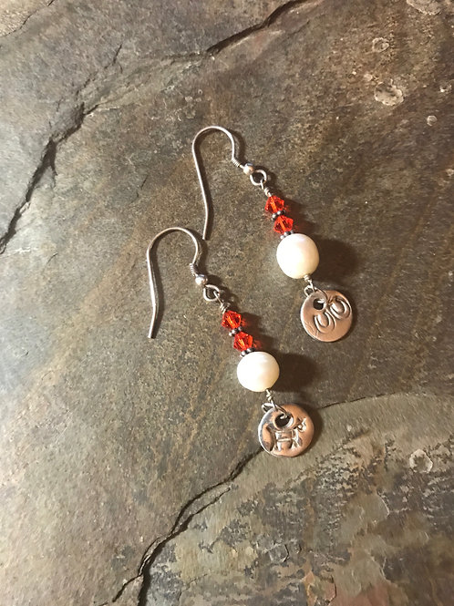 Swarovski & Pearl Earrings with Fine Silver Charms