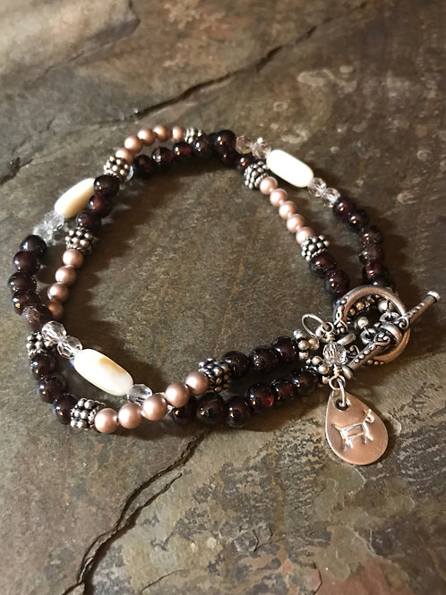 Garnet & Pearl Bracelet