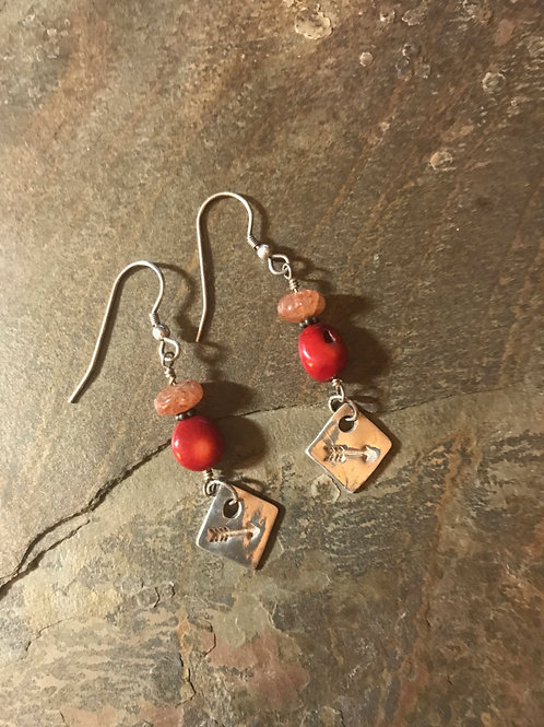 Sunstone & Coral Earrings with Fine Silver Charms