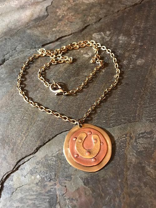 Mixed Metal Horseshoe Necklace
