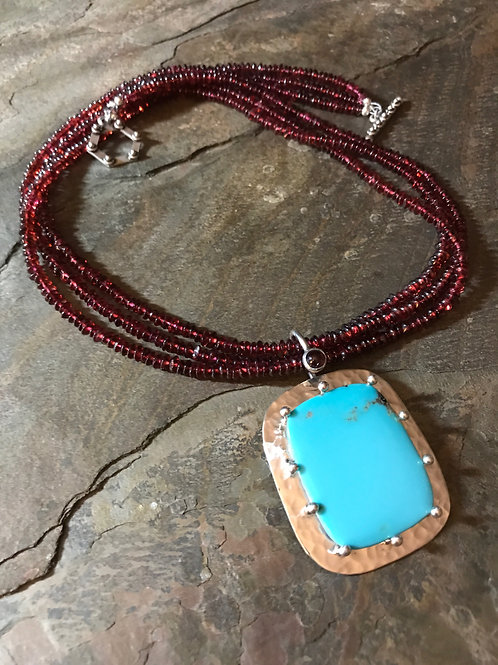 Garnet Necklace with Turquoise Pendant