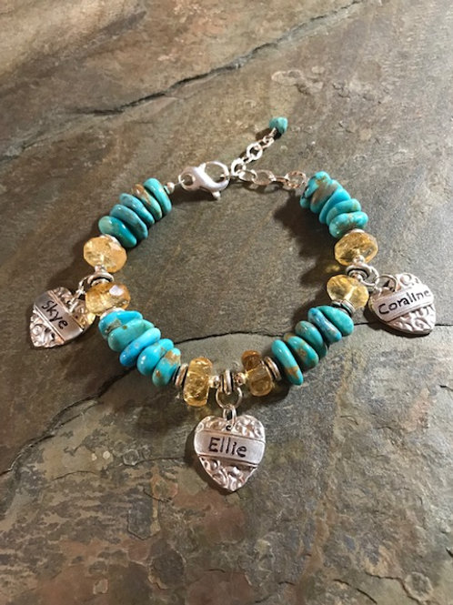 Custom Turquoise and Citrine Charm Bracelet