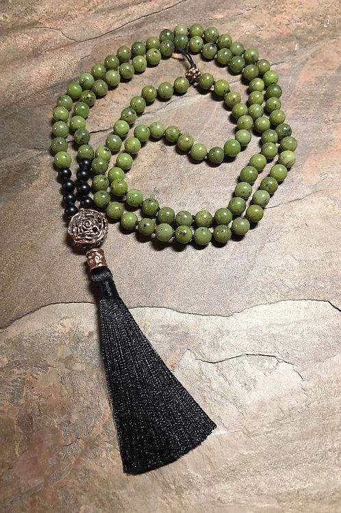 Jade, Onyx, & Bronze Mala Necklace