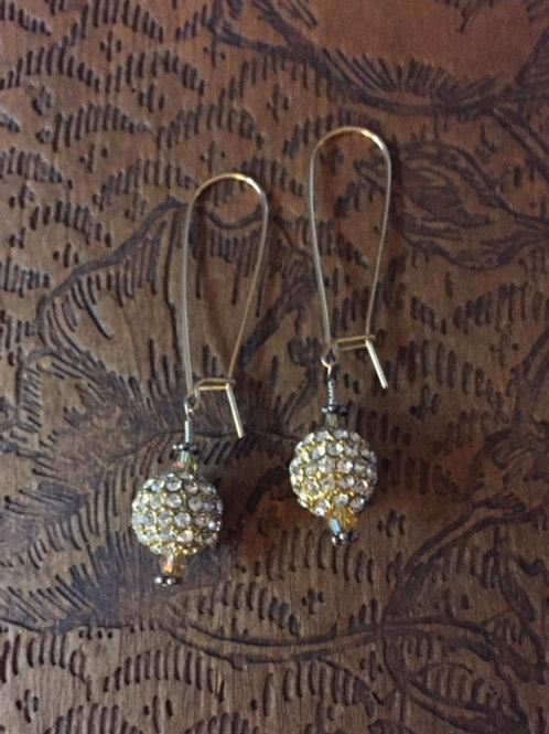 Crystal Spheres, Swarovski, & Gold-tone Earrings
