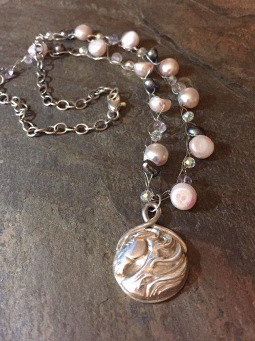 Horse Mane Pearl Crochet Necklace