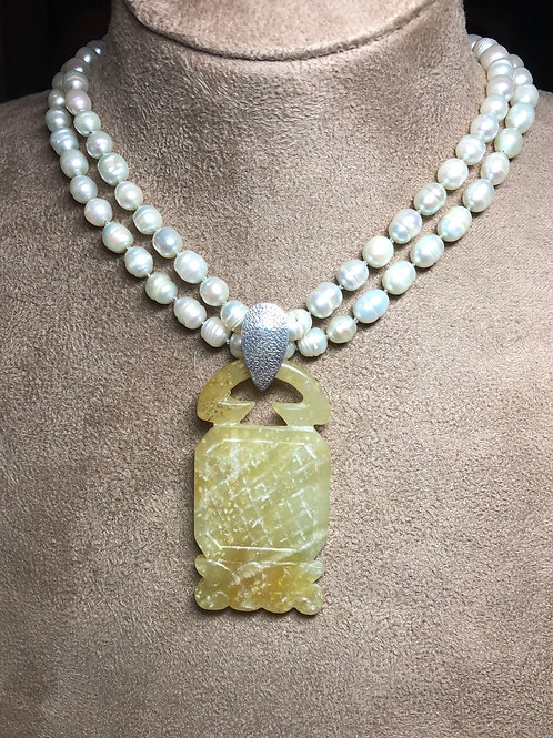 Pearls with Jade Pendant Necklace