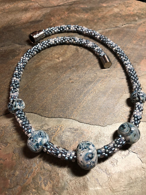 Kumihimo & Hand-Blown Glass Necklace
