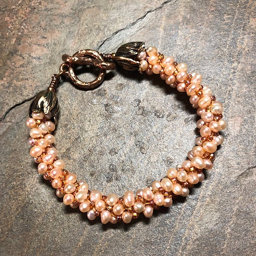 Pearl and Bronze  Kumihimo Bracelet