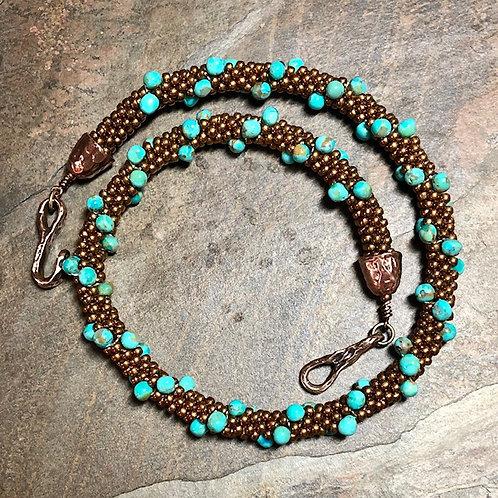 Kingman Turquoise Kumihimo Necklace