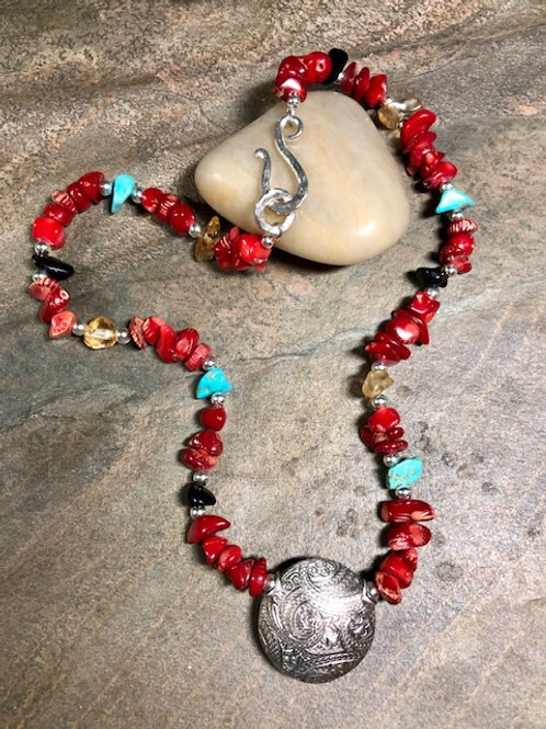 Coral & Gemstone Necklace