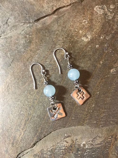 Chalcedony & Sterling Earrings with Fine Silver Charms