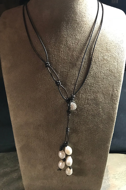 Leather & Pearls Lariat Necklace