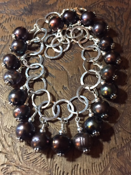 Fine Silver and Pearls Bracelet