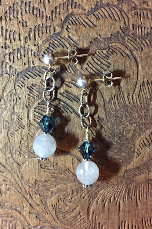 Labradorite & Swarovski Post Earrings