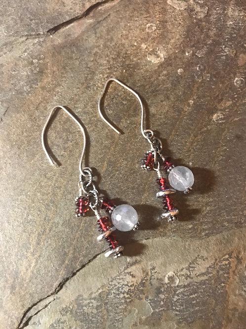 Garnet and Labradorite Earrings
